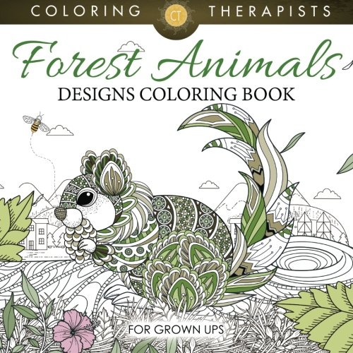 Forest Animals Designs Coloring Book For Grown Ups