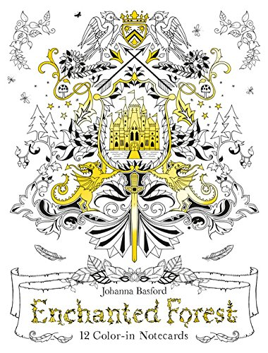 Enchanted Forest: 12 Color-in Notecards