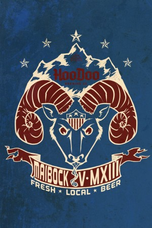 Limited Edition Tshirt design for HooDoo's Maibock release by local artist Lucas Elliot.