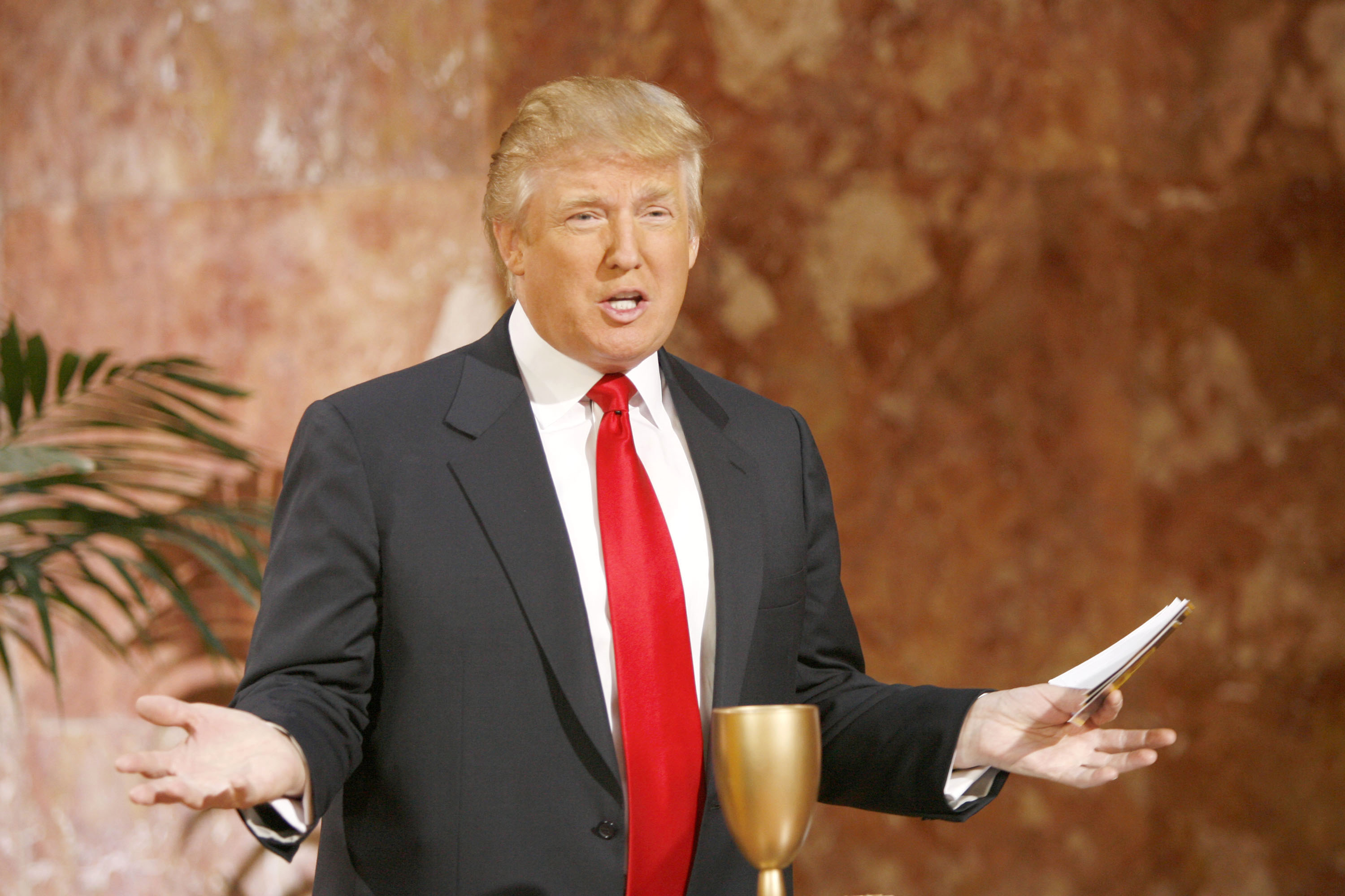 "Donald Trump during Donald Trump Hosts AOL & Mark Burnett's Interactive Game ""Gold Rush"" at Trump Tower in New York City, New York, United States. (Photo by M. Von Holden/WireImage for Andy Morris And Company LLC)"