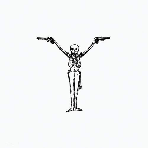 Skeleton with pistols