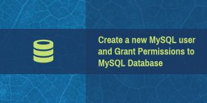 Create a new MySQL user and Grant Permissions to MySQL Database