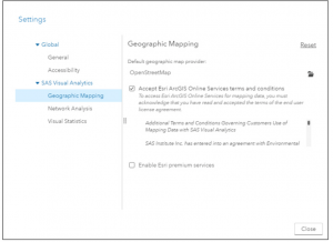 How do I access the Premium Esri Map Service for my SAS Visual Analytics reports?