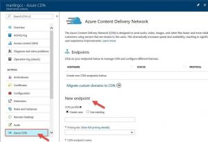 Enable Azure CDN directly from Azure Cloud Services portal extension