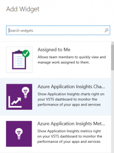 Application Insights: VSTS dashboard chart widget now available