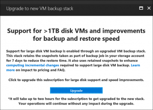 Announcing backup and restore performance improvements and support for large disk backup