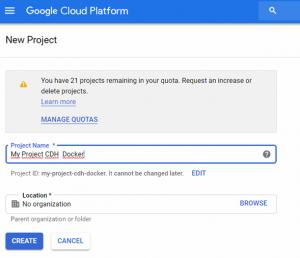 Big Data as a Service, get easily running a Cloudera Quickstart Image with Dockers in GCP