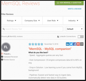 MemSQL Customers Speak Up on Reviews Site G2 Crowd