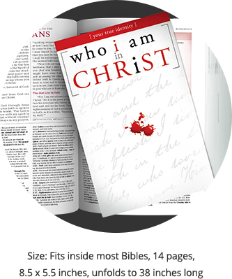 Who I Am in Christ - booklet dimensions - 8.5 x 5.5 inches, unfolds to 38 inches long