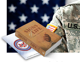 Send a Signs of Life New Testament to someone serving in the U.S. Military