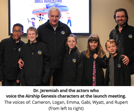 Dr. Jeremiah and the actors who voice the Airship Genesis characters at the launch meeting