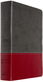 Jeremiah Study Bible - Charcoal & Burgundy Soft-Touch Leather Luxe