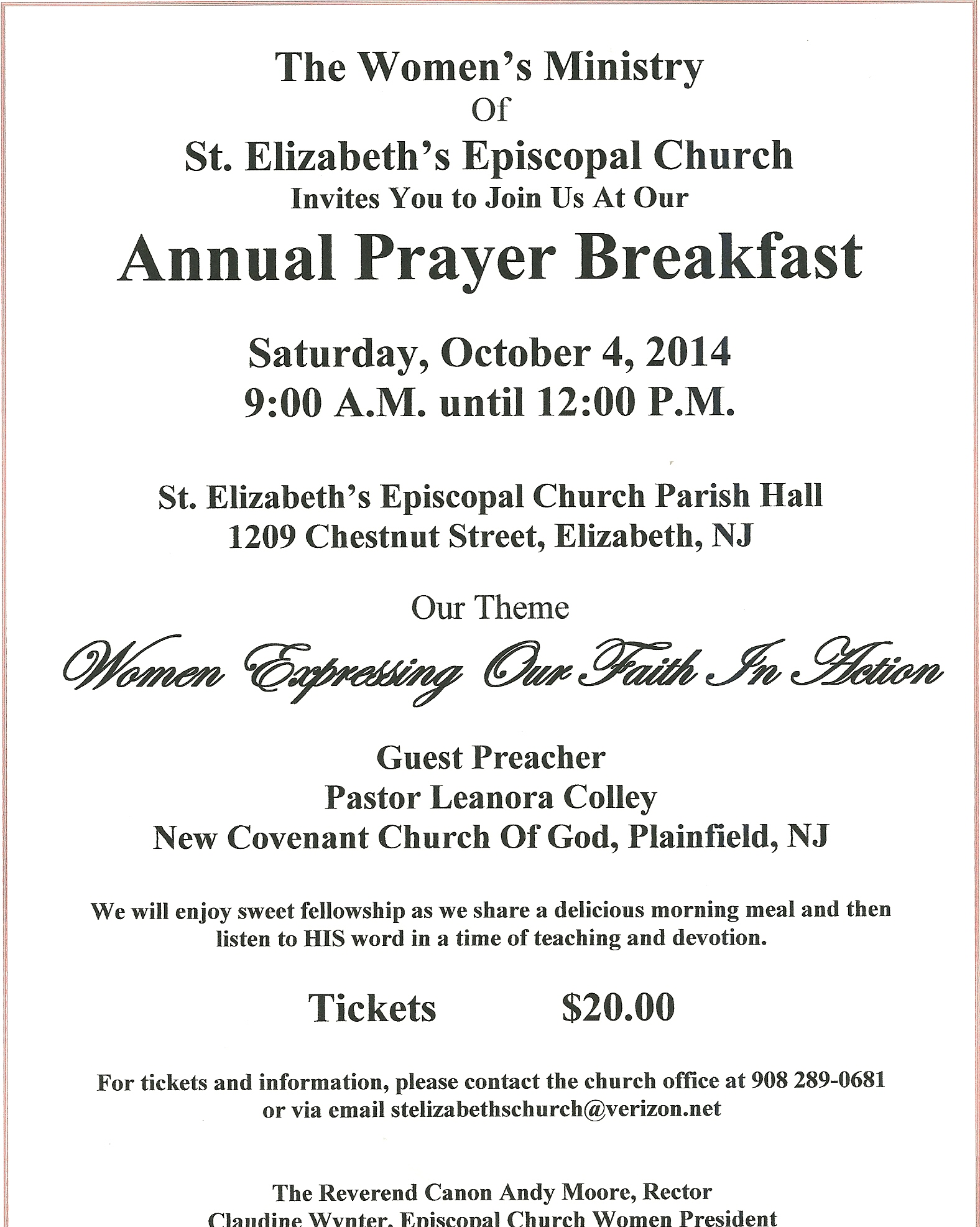 The episcopal diocese of new jersey annual prayer breakfast the women of st elizabeths church elizabeth invite you to join us for our annual prayer breakfast on saturday october 4 2014 from 9 am until 1200 altavistaventures Choice Image