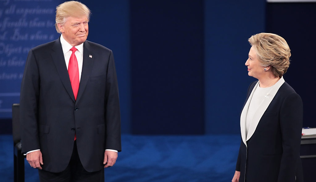 ST LOUIS, MO - OCTOBER 09:  Republican presidential nominee Donald Trump and Democratic presidential nominee former Secretary of State Hillary Clinton during the town hall debate at Washington University in St Louis, Missouri.  (Photo by Scott Olson/Getty Images)