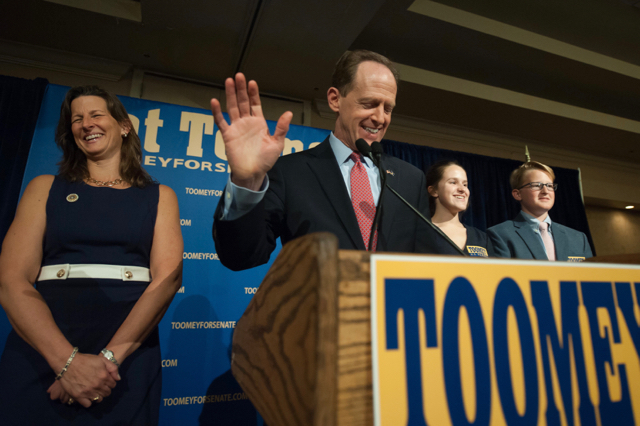 US Senator Pat Toomey of Pennsylvania speaks to supporters. (Photo by Jeff Swensen/Getty Images)