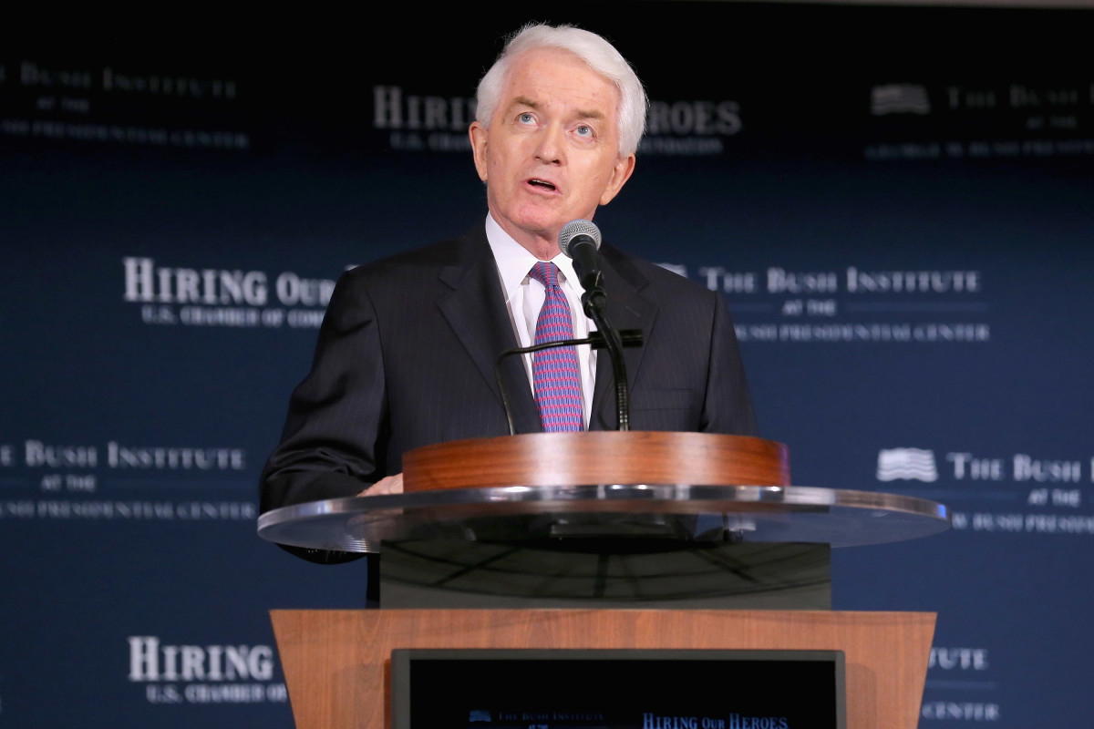 """U.S. Chamber of Commerce President and CEO Thomas Donohue speaks during a summit on """"creating employment opportunities for post-9/11 veterans and military families"""" at the U.S. Chamber of Commerce in Washington, DC.  (Photo by Chip Somodevilla/Getty Images)"""