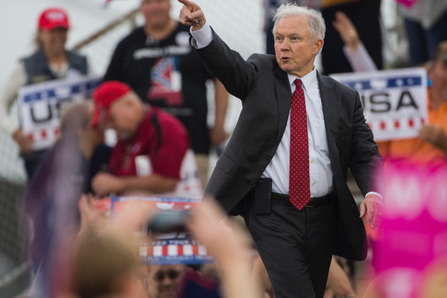 Conservative nonprofits are buying ads supporting Sen. Jeff Sessions' (pictures above) nomination for attorney general. (Photo by Mark Wallheiser/Getty Images)