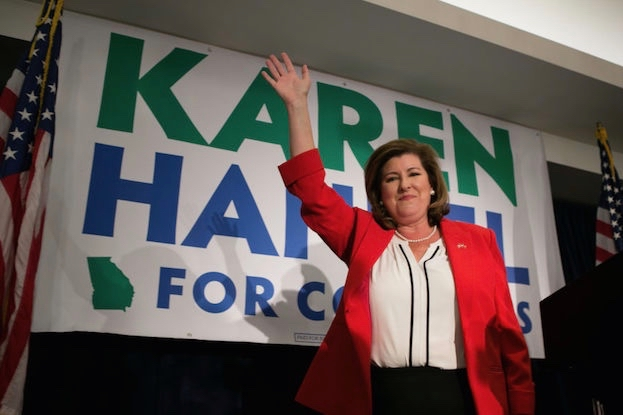 Karen Handel, who won the special election for Georgia's 6th Congressional district, was boosted by the Congressional Leadership Fund and dark money from the American Action Network.  (Photo by Jessica McGowan/Getty Images)