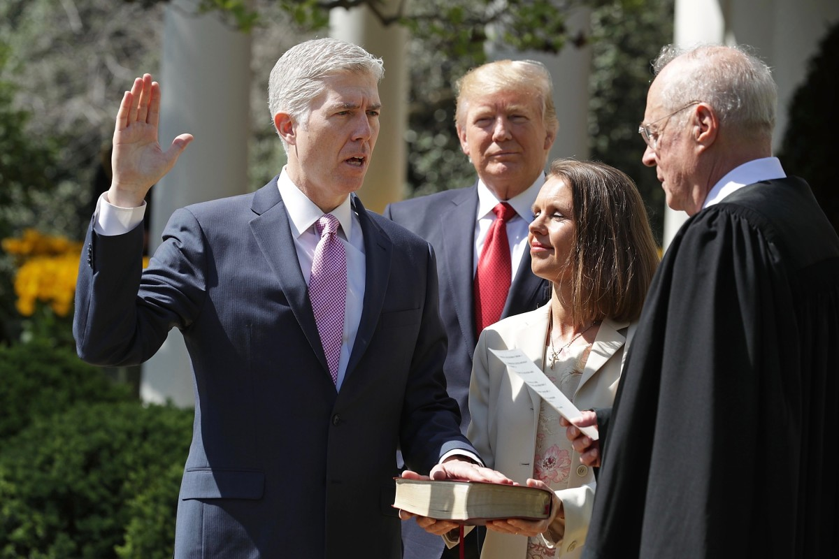 Neil Gorsuch is sworn in as a Supreme Court justice. (Photo by Chip Somodevilla/Getty Images)