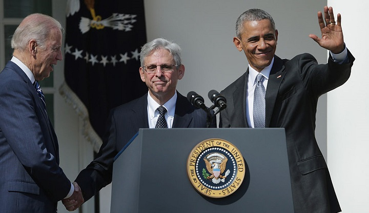 President Barack Obama and Vice President Joe Biden stand with Judge Merrick Garland, Obama's pick to replace Antonin Scalia on the Supreme Court, at the White House in March of 2016.