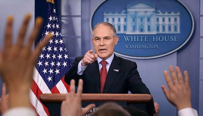 Environmental Protection Agency Administrator Scott Pruitt answers reporters' questions during a briefing at the White House. Pruitt previously chaired the Republican Attorneys General Association while he was Oklahoma's attorney general. Photo by Chip Somodevilla / Getty Images.