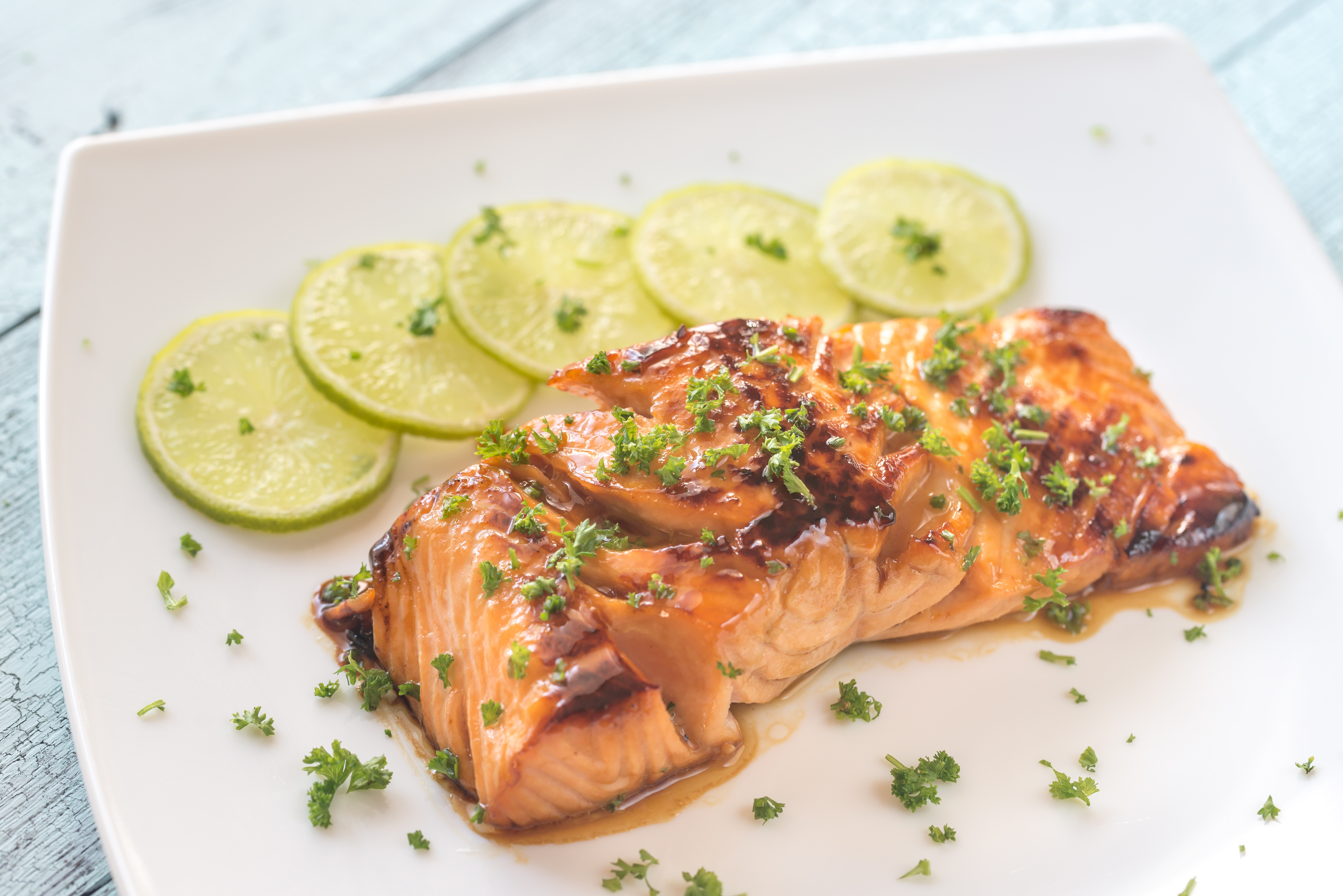 Honey lime salmon on the plate