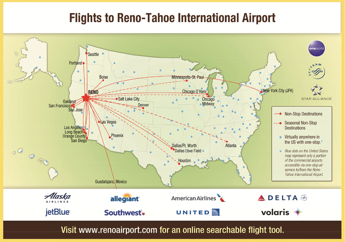 A map of the United States with flights to and from Reno, NV
