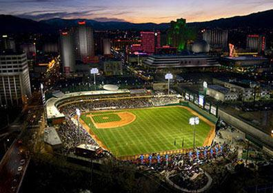 View above downtown reno and the Aces' Stadium.