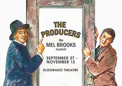 "2 hand drawn men pointing at text on glass door that reads ""The Producers"""