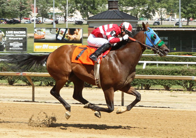 Live horse race at Mountaineer Racetrack