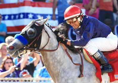 Cupid and jockey racing at Mountaineer Racetrack