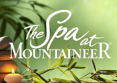 The Spa logo on green leafy background