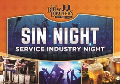 Advertisement for Service Industry Night at Brew Brothers