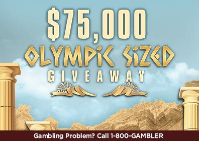Advertisement for the $75,000 Olympic Sized Giveaway