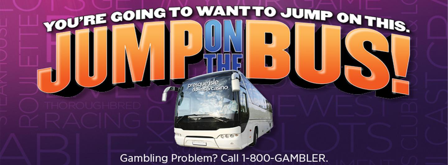 a bus with the logo and jump on the bus in large text