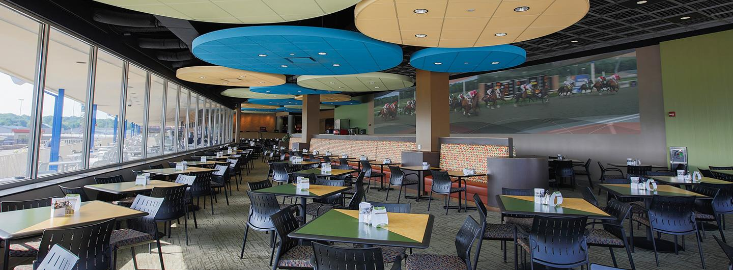 the buffet seating area with tables and booths