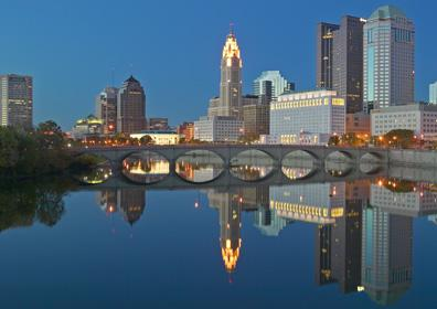 Looking over the Scioto River and Columbus, OH