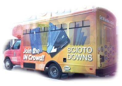 Photo of the Eldorado Scioto Downs branded Shuttle Bus