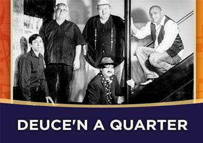 Advertisement for Rhythm & Brews at The Brew Brothers featuring Deuce 'N A Quarter