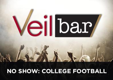 Advertisement for Live Entertainment in the Veil Bar featuring College Football