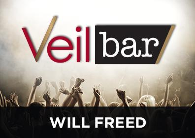 Advertisement for Live Entertainment in the Veil Bar featuring Will Freed