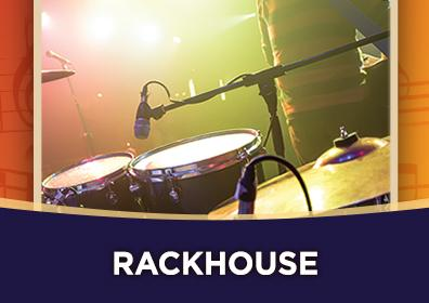 "Photo of a drumset and microphonePhoto of a drumset and microphone with the band name ""Rackhouse"""