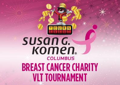Advertisement for the Susan G. Komen VLT Charity Tournament at Eldorado Scioto Downs