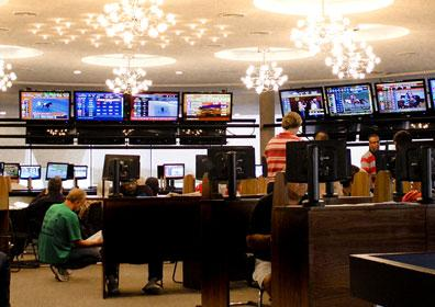 The Eldorado Scioto Downs Simulcast Room featuring multiple TVs and wager stations