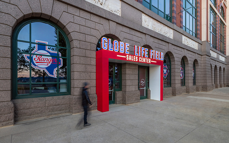 Located at the current rangers ballparker  the globe life field preview center welcomes visitors and fans throught the year