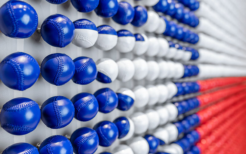 Painted baseballs create an unforgettable depiction of the texas state flag