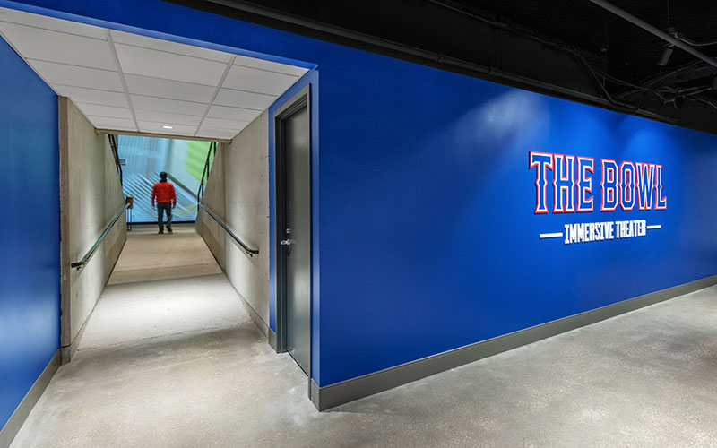 The bowl gives visitors a one of a kind look into the new home of the texas rangers
