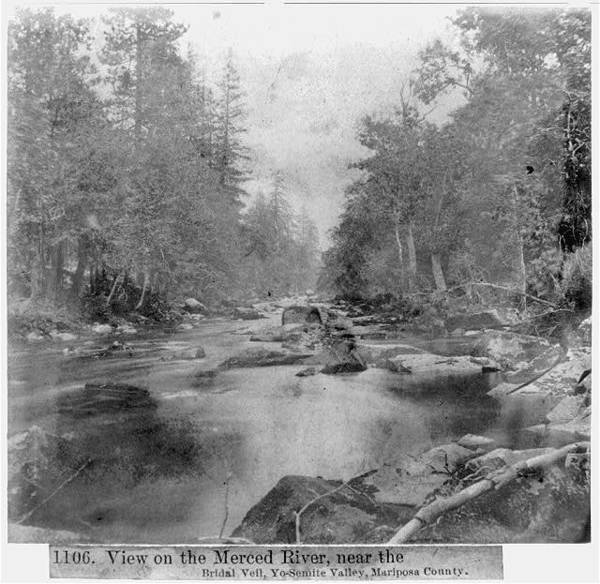 View on the Merced River near the Bridal Veil, Yosemite Valley, Mariposa County