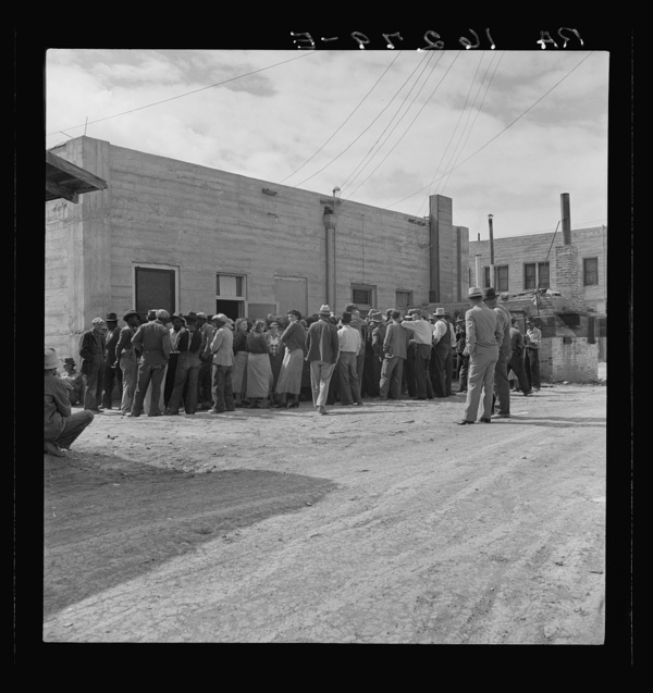Waiting for relief checks. Calipatria, California. Imperial Valley