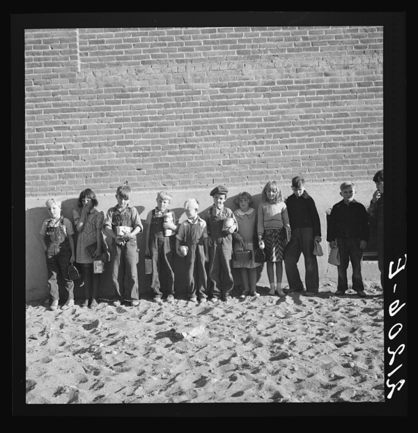 The children from Dead Ox Flat ready to march into the school building when the bell rings. 9 a.m. Malheur County, Oregon. General caption 67-1V